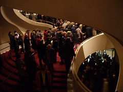 Crowd Fills The Stairs After The Curtain Falls On The Metropolitan Opera