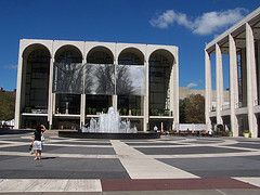 Sunny Day At The Metropolitan Opera Square And Fountain