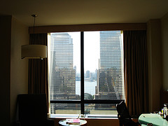 A Inside View Looking Out Towards The World Trade Center Site In The Millennium Hilton Hotel