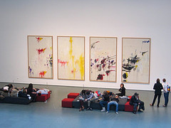 People Lounge Around Four Abstract Paintings At The Museum Of Modern Art