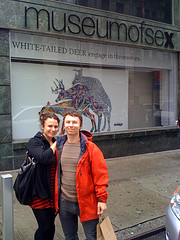 A Couple Stops For A Photo Outside The Museum Of Sex.