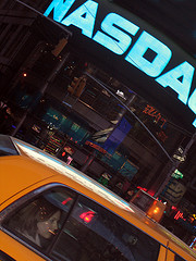 A Skewed View Of A Woman In A Cab In Front Of The Nassau Exchange