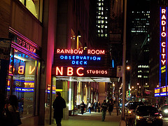 NBC Studios Sign Lit Up In Neon At Night