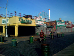 Nathan's Famous All Closed Up During The Winter At Coney Island