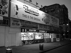 Black And White Street View Of Nathan's Famous