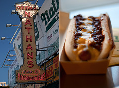A Split Shot Of Nathan's Famous Hotdog Stand On The Boardwalk Of Coney Island