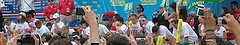 A Panoramic View Of The Famous Nathan's Hot Dog Eating Contest.