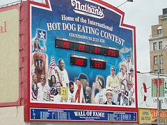 The Mural And Countdown Clock For Nathan's Hot Dog Eating Contest
