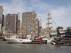 Historic Ships Dock At The South Street Seaport In The Vicinity Of New York Bay