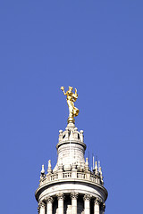 The Domed Tower And Gold Statue At The Top Of New York City Hall
