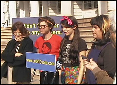 A Photo Taken On The Steps Of The New York City Hall During A Press Conference