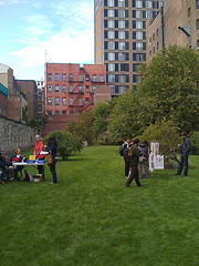 People Congregating On A Grassy Lawn At New York City Marble Cemetery