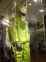 A Bright Green Hazmat Uniform Displayed At The New York City Police Museum