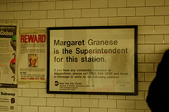 A Shot Of A Useful Sign In A New York Subway Station, If You Have Issues Call Margaret
