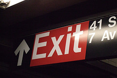 A New York City Subway Exit Sign At 41st Street And 7th Avenue