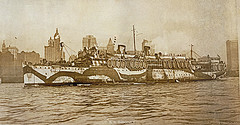 A Very Old Picture Of New York Harbor With The Uss Siboney Coming Home From France In 1918