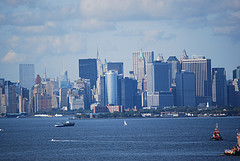New York Harbor With The Awesome Backdrop Of New York City