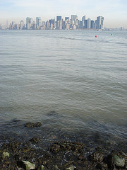 The New York Harbor With City In Distance