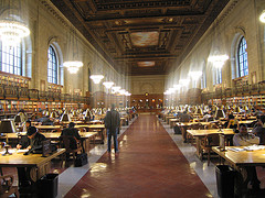 Students And Researchers Hard At Work In The Vast Reading Room Of The New York Public Library