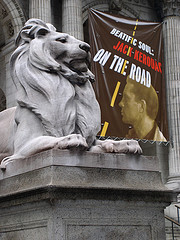 A Banner Promoting A Jack Kerouac Exhibit Hangs From The New York Public Library Building
