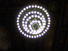 Chandelier Illuminating The Interior Of The New York Public Library