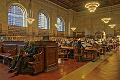 Patrons In The New York Public Library, Considered One Of The Worlds Leading Public Libraries.