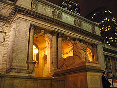 The Glow Of The Entrance To The New York Public Library At Night
