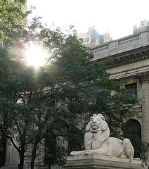 The Lion Stature Marking The Entrance Of The New York Public Library
