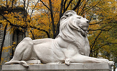 The Lion Statue Marking The Entrance To The New York Public Library