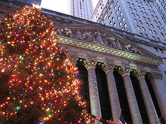 Giant Christmas Tree Outside The New York Stock Exchange On Wall Street