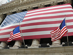 The American Flags On The New York Stock Exchange Pillars, Largest Exchange In The World