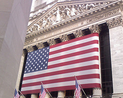 The Great New York Stock Exchange With Its Beautiful United States Flag.