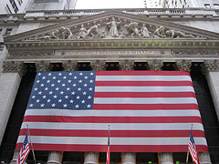 An American Flag Hangs At The New York Stock Exchange.