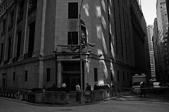 Shadows Cast On The New York Stock Exchange Shown In Black And White