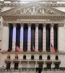 The New York Stock Exchange Decked Out In The Christmas Spirit