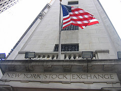 United States Flag Waving Outside Of The Nyse Building.