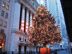 Illuminated Christmas Tree In Front Of The New York Stock Exchange