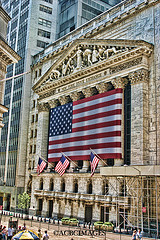 An Artist's Color Illustration Of The Outside Of The New York Stock Exchange Building