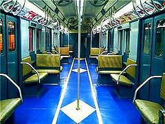 Inside A Vintage Train Car At The New York Transit Museum