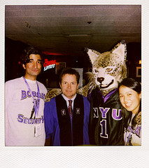 Posed Photograph Of Students With New York University Bobcat Mascot.