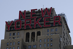 Red Signage Atop The New Yorker Hotel, In Midtown