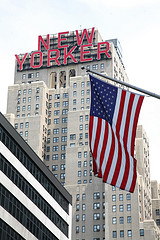 A Patriotic View Of The New Yorker Hotel On A Clear Day.
