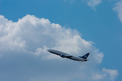 Plane Flies Out From Newark Liberty International Airport, Serving New York And New Jersey