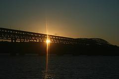 Twilight View Of The Newburgh-beacon Bridge Over The Hudson River.