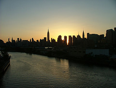 Silhouettes Of New York City Loom Over Newtown Creek