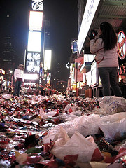 Remnants From New Years Eve Festivities Fill Times Square.