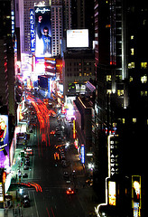 A Very Far Photo Taken Of One Times Square During The Colorful Nights