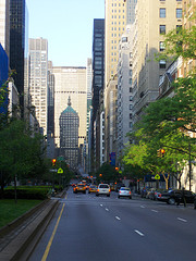 Looking Down Park Avenue Towards The MetLife Building, Shadows From The Buildings Abound