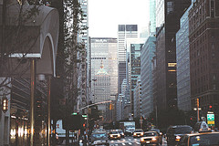 A View Of Park Avenue From A Car.