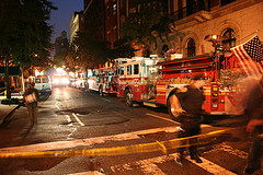 Fire trucks Line The Busy New York City Park Avenue